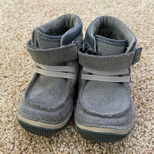 Stride Rite grey leather boots size toddler 5W.